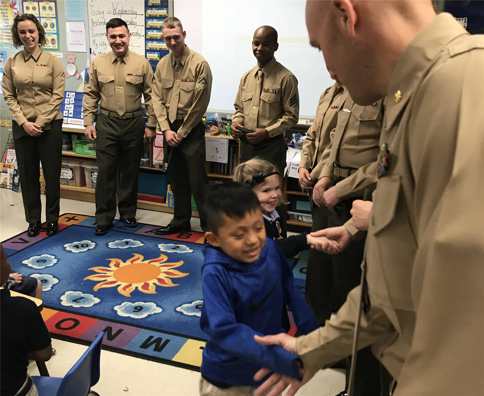 Marines greet students
